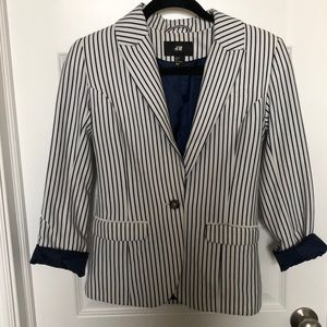Navy striped blazer.